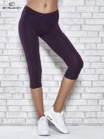 Ciemnofioletowe legginsy sportowe z dżetami i marszczoną nogawką za kolano                                  zdj.                                  1