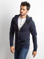 Ciemnogranatowa bawełniana bluza męska z kapturem                                  zdj.                                  3