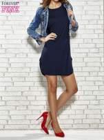 Ciemnogranatowa sukienka z rozporkami po bokach                                  zdj.                                  5