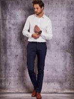 Ciemnogranatowe spodnie męskie w delikatny wzór                                  zdj.                                  4