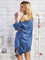 Ciemnoniebieska asymetryczna tunika z troczkami                                  zdj.                                  3