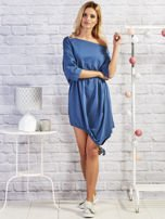 Ciemnoniebieska asymetryczna tunika z troczkami                                  zdj.                                  4
