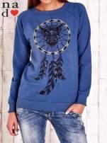 Ciemnoniebieska bluza z motywem sowy i łapacza snów                                  zdj.                                  1