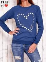 Ciemnoniebieska bluza z wzorem serca