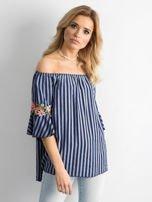 Ciemnoniebieska bluzka hiszpanka w paski z kwiatowymi wstawkami                                  zdj.                                  1