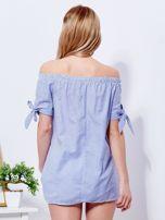 Ciemnoniebieska bluzka hiszpanka w paski z perełkami                                  zdj.                                  2