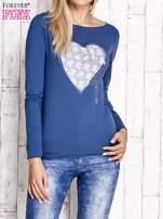 Ciemnoniebieska bluzka z materiałową wstawką                                  zdj.                                  1