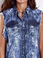 Ciemnoniebieska dekatyzowana sukienka jeansowa o kroju tuniki                                  zdj.                                  6