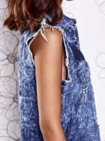 Ciemnoniebieska dekatyzowana sukienka jeansowa o kroju tuniki