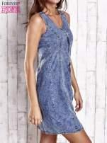 Ciemnoniebieska denimowa sukienka z suwakiem                                  zdj.                                  3