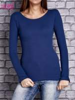 Ciemnoniebieska dopasowana gładka bluzka w prążek                                  zdj.                                  1