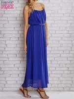 Ciemnoniebieska grecka sukienka maxi ze złotym paskiem                                  zdj.                                  3