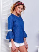 Ciemnoniebieska jeansowa bluzka z szerokimi rękawami                                  zdj.                                  7