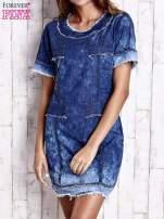 Ciemnoniebieska jeansowa sukienka z surowym wykończeniem                                  zdj.                                  1