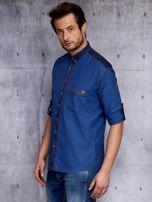 Ciemnoniebieska koszula męska w drobny wzór PLUS SIZE                                  zdj.                                  3