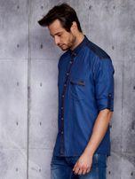 Ciemnoniebieska koszula męska z denimową listwą PLUS SIZE                                  zdj.                                  3