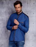 Ciemnoniebieska koszula męska z denimową listwą PLUS SIZE                                  zdj.                                  6