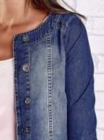 Ciemnoniebieska krótka kurtka jeansowa z przetarciami                                                                          zdj.                                                                         6