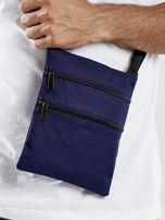 Ciemnoniebieska materiałowa torba saszetka                                  zdj.                                  4