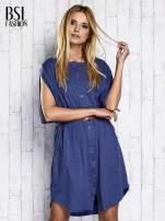 Ciemnoniebieska melanżowa sukienka oversize z guzikami                                  zdj.                                  3