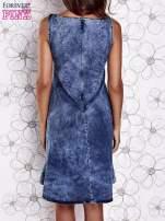 Ciemnoniebieska rozkloszowana dekatyzowana sukienka                                  zdj.                                  5