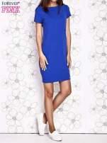 Ciemnoniebieska sukienka dresowa o prostym kroju                                                                          zdj.                                                                         5