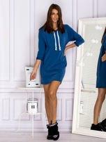 Ciemnoniebieska sukienka z troczkami                                  zdj.                                  4