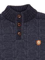 Ciemnoniebieski dziergany sweter dla chłopca                                   zdj.                                  6