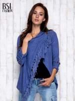 Ciemnoniebieski otwarty sweter z podwijanymi rękawami                                  zdj.                                  5