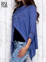 Ciemnoniebieski otwarty sweter z podwijanymi rękawami                                  zdj.                                  3