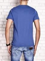 Ciemnoniebieski t-shirt męski z wyścigowym napisem ROAD RACE                                                                          zdj.                                                                         1