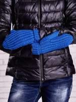 Ciemnoniebieskie proste rękawiczki na jeden palec z grubej wełny                                  zdj.                                  3