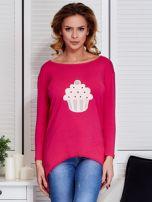 Ciemnoróżowa asymetryczna bluzka z babeczką                                  zdj.                                  1