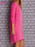 Ciemnoróżowa gładka sukienka oversize                                  zdj.                                  3