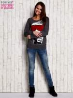 Ciemnoszara bluza z komiksowym nadrukiem                                  zdj.                                  2