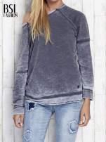 Ciemnoszara dekatyzowana bluza z surowym wykończeniem