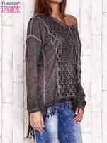 Ciemnoszara dekatyzowana bluzka z troczkami                                  zdj.                                  3