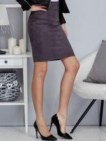 Ciemnoszara spódnica z imitacji zamszu                                  zdj.                                  5