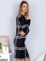 Ciemnoszara sukienka w szeroką kratę                                  zdj.                                  3