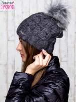 Ciemnoszara wełniana czapka z pomponem                                  zdj.                                  2