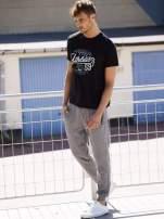 Ciemnoszare melanżowe spodnie męskie z trokami i kieszeniami                                  zdj.                                  6