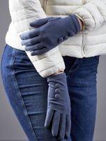 Ciemnoszare rękawiczki z guzikami                                  zdj.                                  3