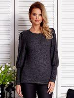 Ciemnoszary sweter z marszczeniami na rękawach                                  zdj.                                  1