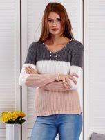 Ciemnoszary sweter z perełkami                                  zdj.                                  1