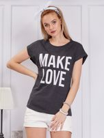 Ciemnoszary t-shirt MAKE LOVE                                  zdj.                                  1