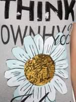 Ciemnoszary t-shirt z nadrukiem stokrotki z dżetami                                  zdj.                                  8