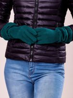 Ciemnozielone długie rękawiczki z marszczonym ściągaczem                                   zdj.                                  3
