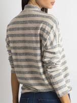 Cienki sweter w paski z półgolfem szary                                  zdj.                                  2