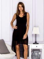 Czarna asymetryczna sukienka maxi                                  zdj.                                  1