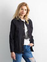 Czarna bawełniana kurtka oversize z napisem                                  zdj.                                  3